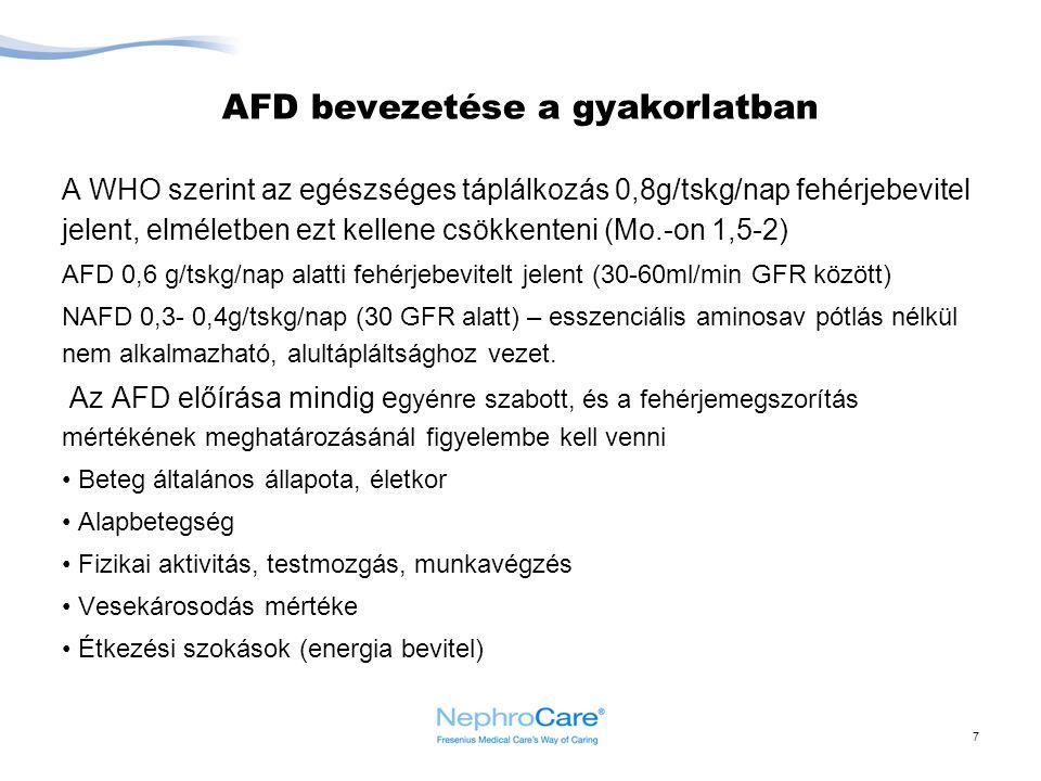 7 AFD bevezetése a gyakorlatban A WHO szerint az egészséges táplálkozás 0,8g/tskg/nap fehérjebevitel jelent, elméletben ezt kellene csökkenteni (Mo.-o