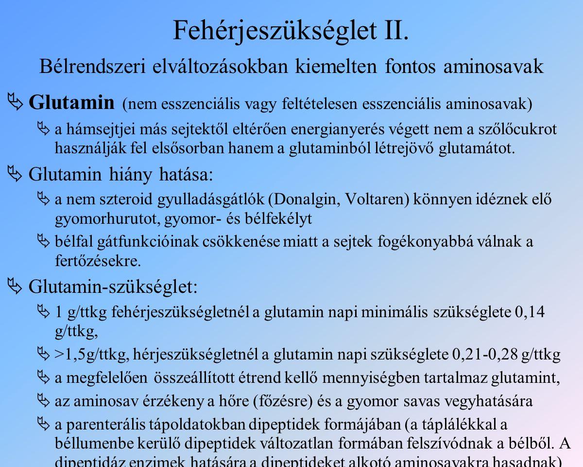 Fehérjeszükséglet II.