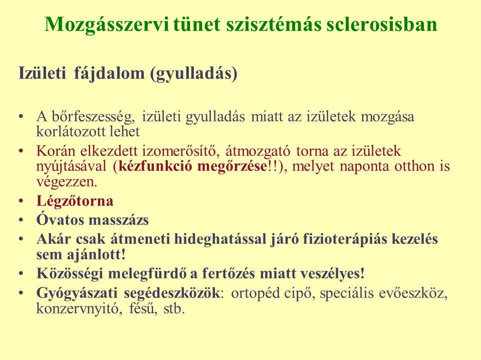 Mozgásszervi tünet szisztémás sclerosisban Izületi fájdalom (gyulladás) A bőrfeszesség, izületi gyulladás miatt az izületek mozgása korlátozott lehet