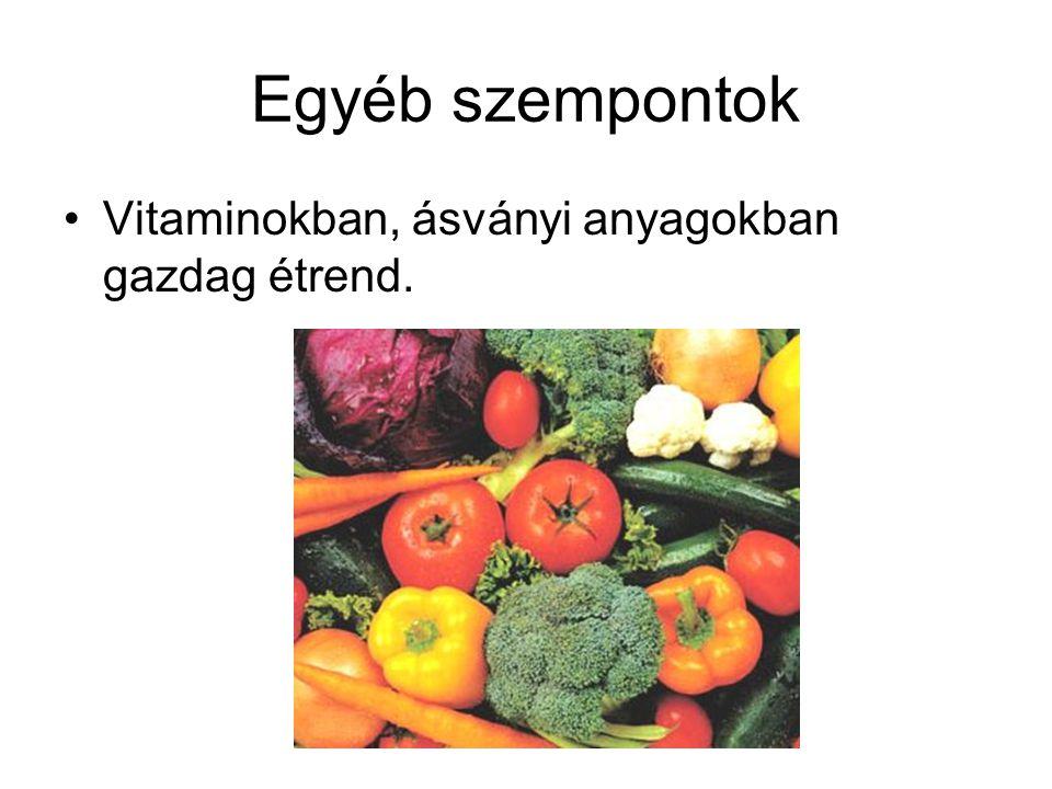 Egyéb szempontok Vitaminokban, ásványi anyagokban gazdag étrend.