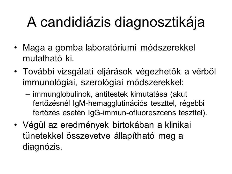 A candidiázis diagnosztikája Maga a gomba laboratóriumi módszerekkel mutatható ki.