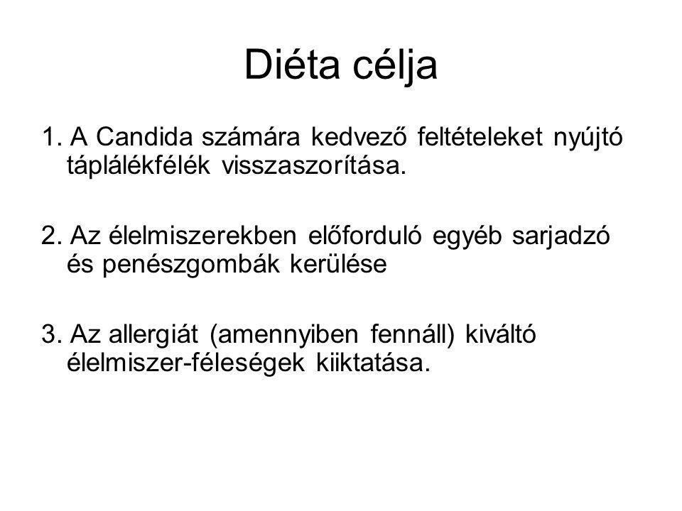 Diéta célja 1.A Candida számára kedvező feltételeket nyújtó táplálékfélék visszaszorítása.
