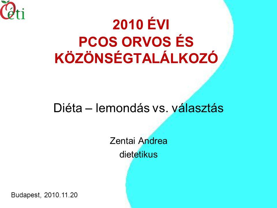 2010 ÉVI PCOS ORVOS ÉS KÖZÖNSÉGTALÁLKOZÓ Diéta – lemondás vs.