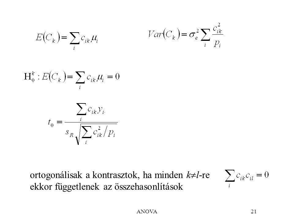 ANOVA21 ortogonálisak a kontrasztok, ha minden k  l-re ekkor függetlenek az összehasonlítások