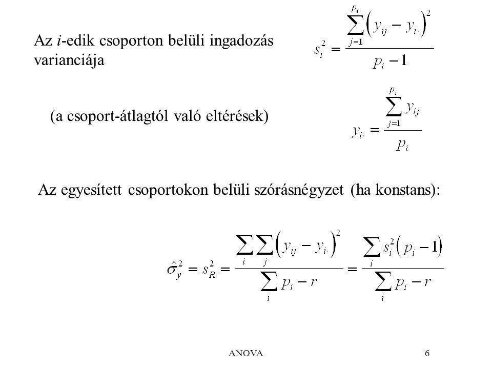 ANOVA6 Az i-edik csoporton belüli ingadozás varianciája Az egyesített csoportokon belüli szórásnégyzet (ha konstans): (a csoport-átlagtól való eltérések)