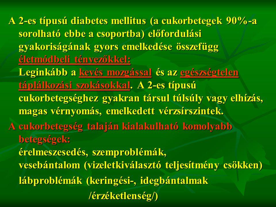 A 2-es típusú diabetes mellitus (a cukorbetegek 90%-a sorolható ebbe a csoportba) előfordulási gyakoriságának gyors emelkedése összefügg életmódbeli t