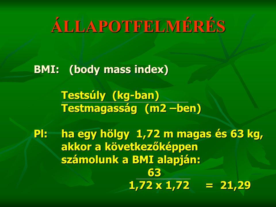 ÁLLAPOTFELMÉRÉS BMI: (body mass index) Testsúly (kg-ban) Testmagasság (m2 –ben) Pl:ha egy hölgy 1,72 m magas és 63 kg, akkor a következőképpen számolu