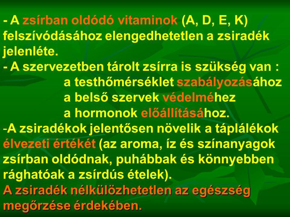 - A zsírban oldódó vitaminok (A, D, E, K) felszívódásához elengedhetetlen a zsiradék jelenléte. - A szervezetben tárolt zsírra is szükség van : a test