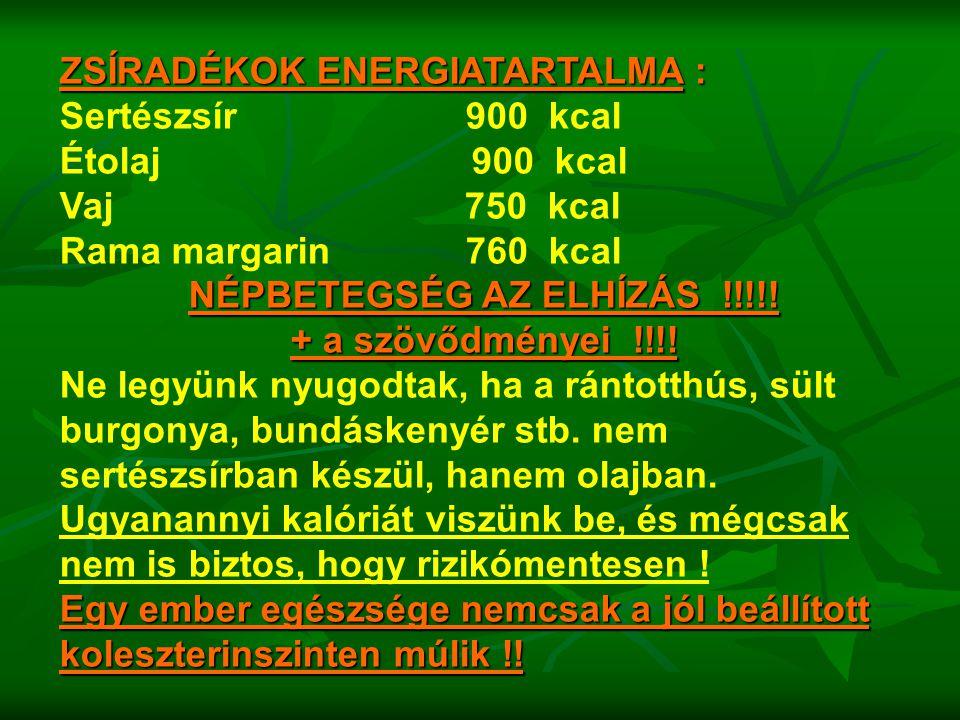 ZSÍRADÉKOK ENERGIATARTALMA : Sertészsír 900 kcal Étolaj 900 kcal Vaj 750 kcal Rama margarin 760 kcal NÉPBETEGSÉG AZ ELHÍZÁS !!!!! + a szövődményei !!!