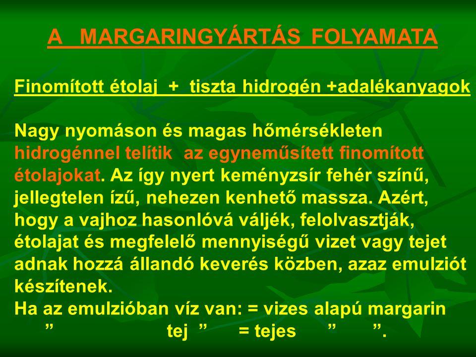 A MARGARINGYÁRTÁS FOLYAMATA Finomított étolaj + tiszta hidrogén +adalékanyagok Nagy nyomáson és magas hőmérsékleten hidrogénnel telítik az egyneműsíte