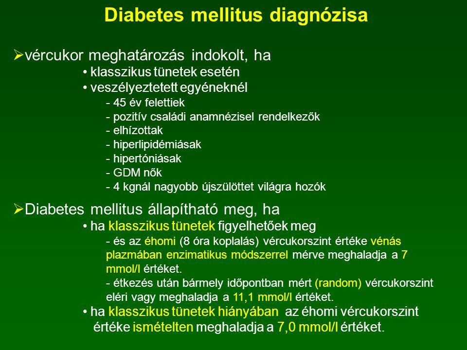 Diabetes mellitus diagnózisa Normális (mmol/l) IFG (mmol/l) IGT (mmol/l) Diabetes mellitus (mmol/l) Éhomi vércukorszint Vénás plazmában enzimatikus mó