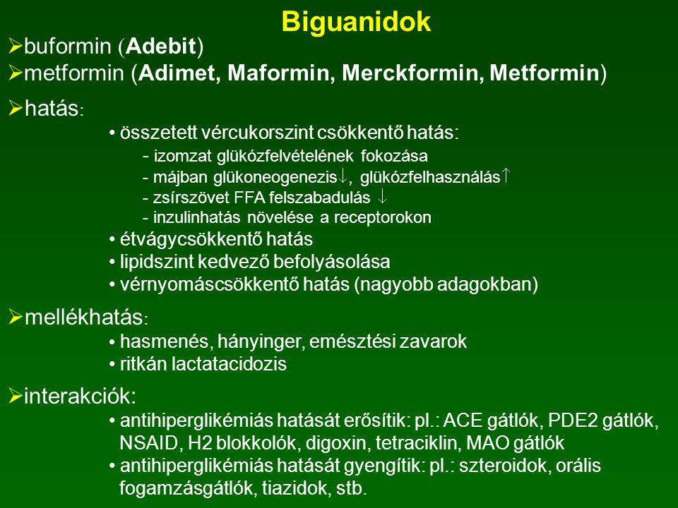 Alfa-glikozidáz gátlók: acarbóz (Glucobay)  hatás:  -glukozidáz gátlása  szénhidrátok vékonybélben nem szívódnak fel  vércukorszint emelkedése kis