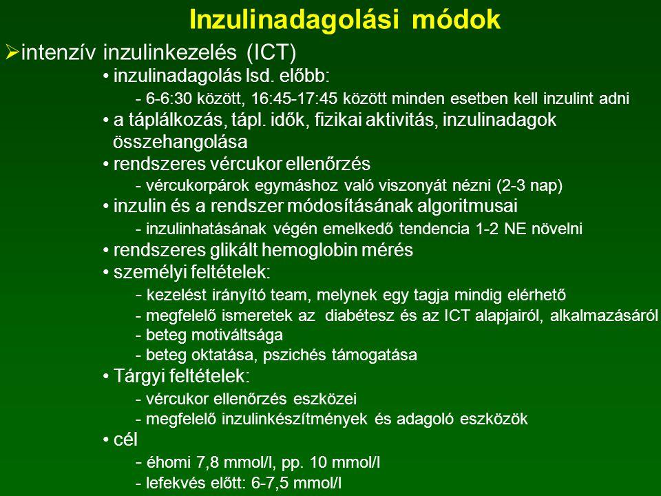Inzulinadagolási módok  napi egyszeri bázis inzulin manapság már nem alkalmazzák  napjában kétszer adott intermedier inzulin endogén inzulintartalék