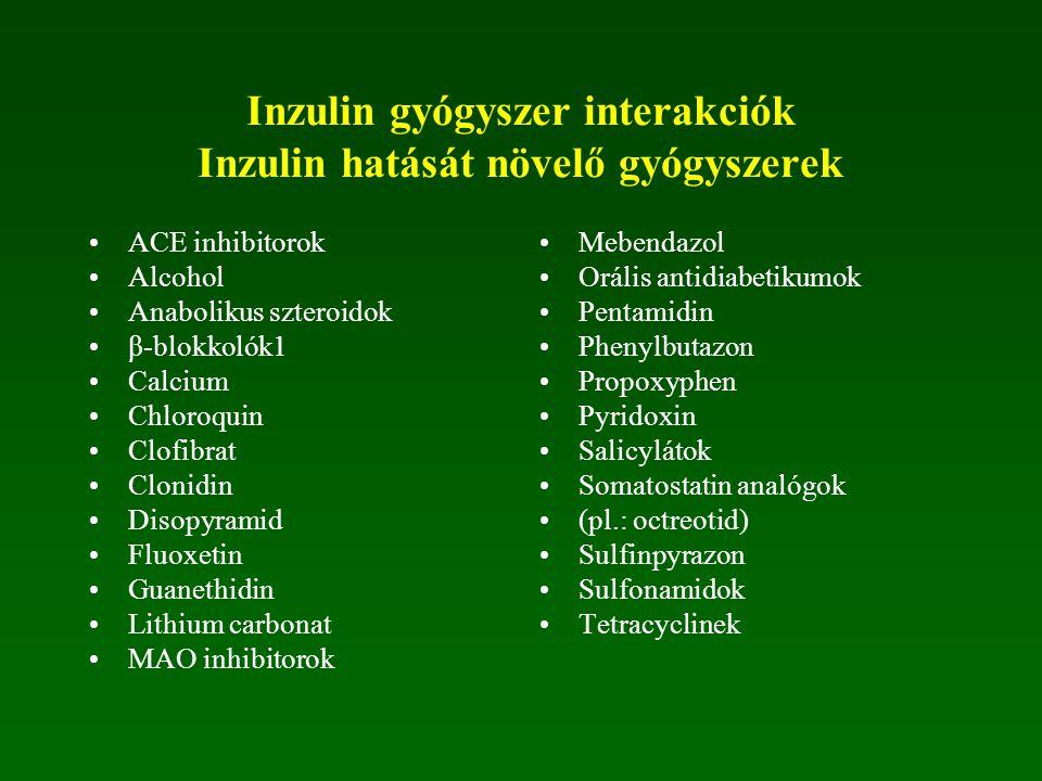 Inzulin gyógyszer interakciók Inzulin hatását csökkentő gyógyszerek Acetazolamid AIDS antivirális szerek Albuterol Asparaginaze Calcitonin Diltiazem D
