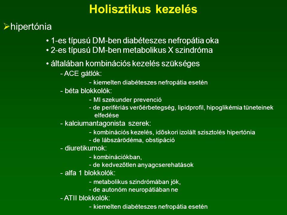 Kockázati szintek Vérlipidérték kockázata Kisfokú kockázatmakroangiopátiás kockázat mikroangiopátiás kockázat szérum- összkoleszterin < 4,8 mmol/l4,8-