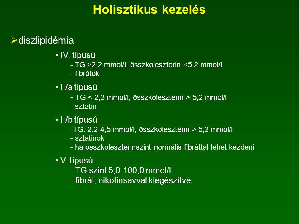 Holisztikus kezelés  hipertónia 1-es típusú DM-ben diabéteszes nefropátia oka 2-es típusú DM-ben metabolikus X szindróma általában kombinációs kezelé