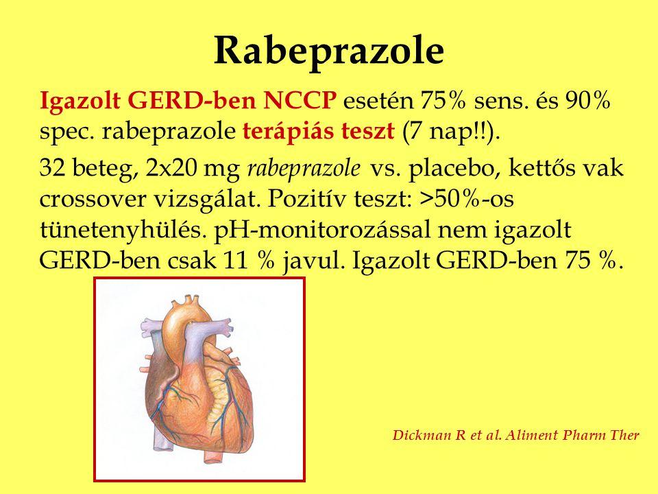 Rabeprazole Igazolt GERD-ben NCCP esetén 75% sens. és 90% spec. rabeprazole terápiás teszt (7 nap!!). 32 beteg, 2x20 mg rabeprazole vs. placebo, kettő