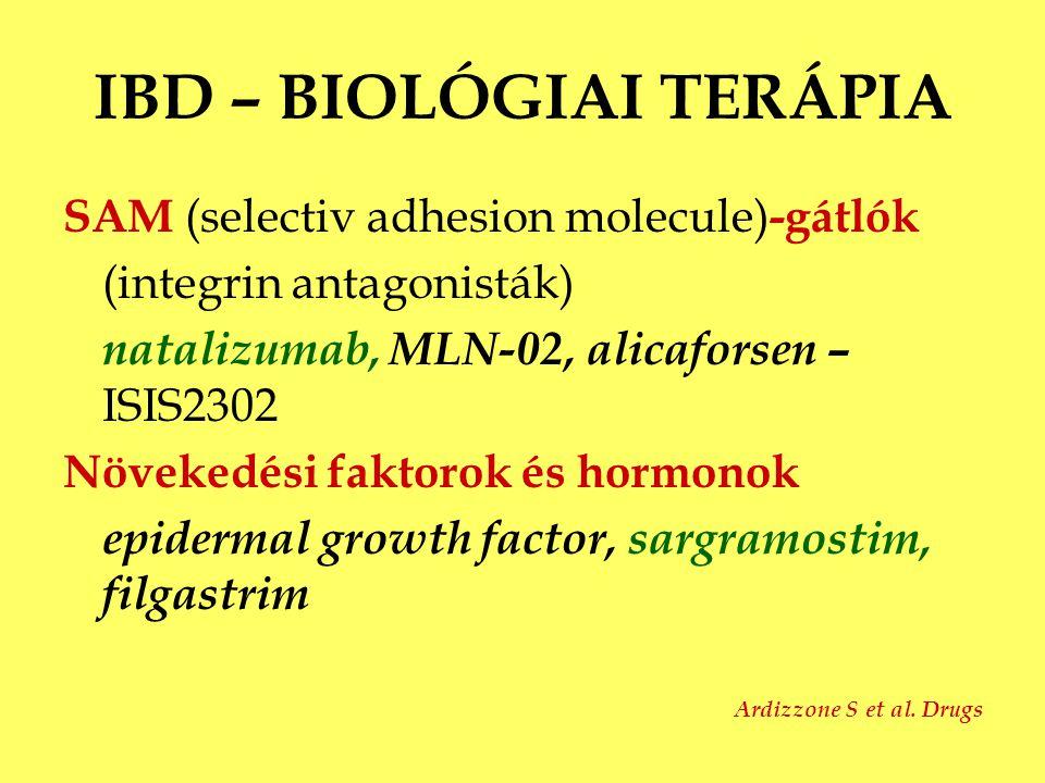 IBD – BIOLÓGIAI TERÁPIA SAM (selectiv adhesion molecule) -gátlók (integrin antagonisták) natalizumab, MLN-02, alicaforsen – ISIS2302 Növekedési faktor