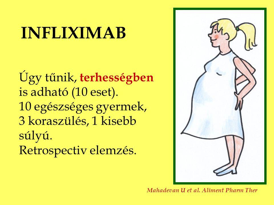 INFLIXIMAB Úgy tűnik, terhességben is adható (10 eset). 10 egészséges gyermek, 3 koraszülés, 1 kisebb súlyú. Retrospectiv elemzés. Mahadevan U et al.