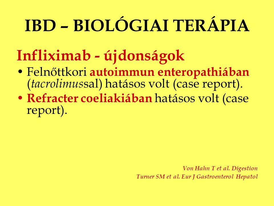 IBD – BIOLÓGIAI TERÁPIA Infliximab - újdonságok Felnőttkori autoimmun enteropathiában ( tacrolimus sal) hatásos volt (case report). Refracter coeliaki