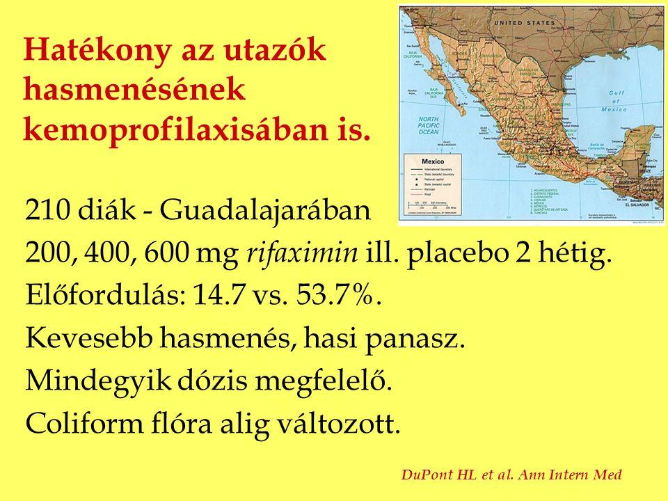 Hatékony az utazók hasmenésének kemoprofilaxisában is. 210 diák - Guadalajarában 200, 400, 600 mg rifaximin ill. placebo 2 hétig. Előfordulás: 14.7 vs