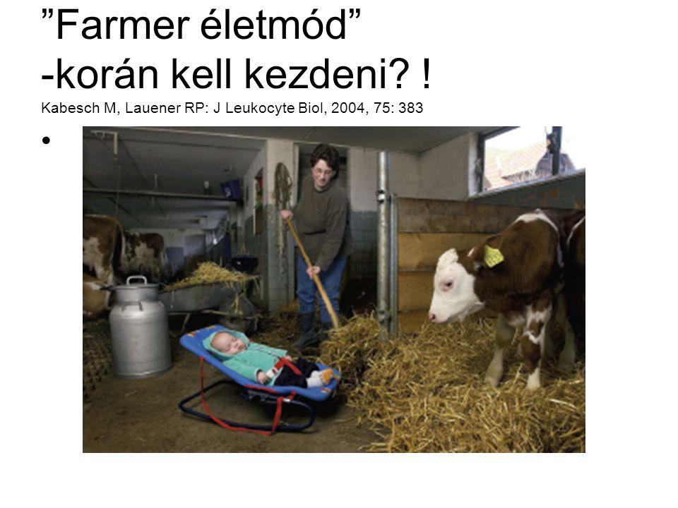 """""""Farmer életmód"""" -korán kell kezdeni? ! Kabesch M, Lauener RP: J Leukocyte Biol, 2004, 75: 383"""