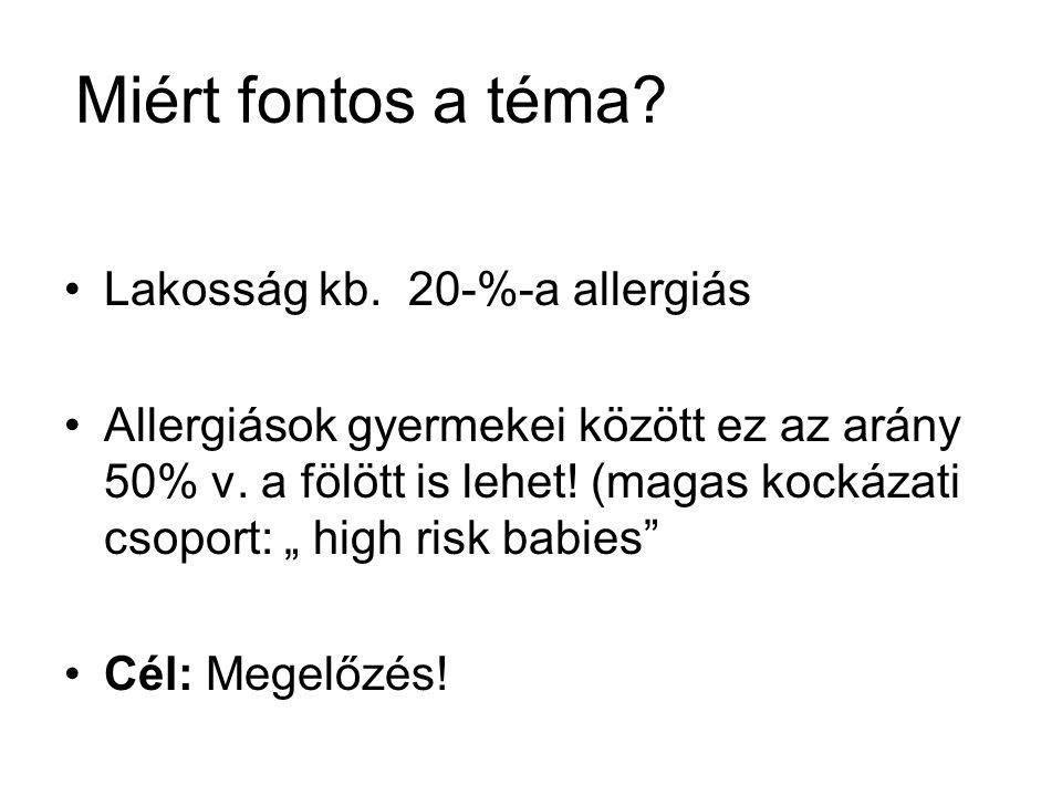 Allergiák, öröklődési kockázat Ha a családi anamnézis negativ: 10-20% Ha egyik szülő allergiás: 30- 50 % Ha mindkét szülő allergiás : 40-75 %