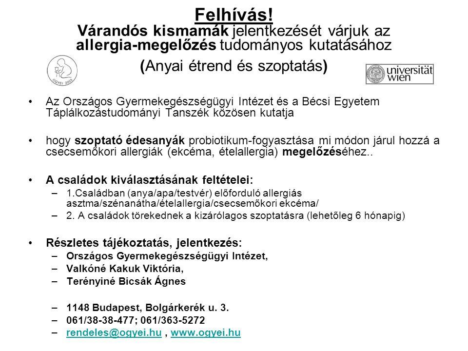 Felhívás! Várandós kismamák jelentkezését várjuk az allergia-megelőzés tudományos kutatásához (Anyai étrend és szoptatás) Az Országos Gyermekegészségü