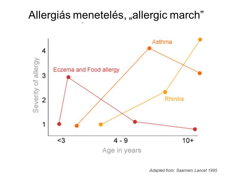 "Adapted from: Saarinen, Lancet 1995 Allergiás menetelés, ""allergic march"""