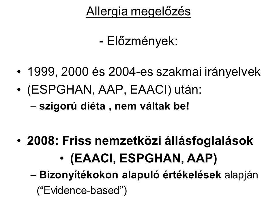 Allergia megelőzés - Előzmények: 1999, 2000 és 2004-es szakmai irányelvek (ESPGHAN, AAP, EAACI) után: –szigorú diéta, nem váltak be! 2008: Friss nemze