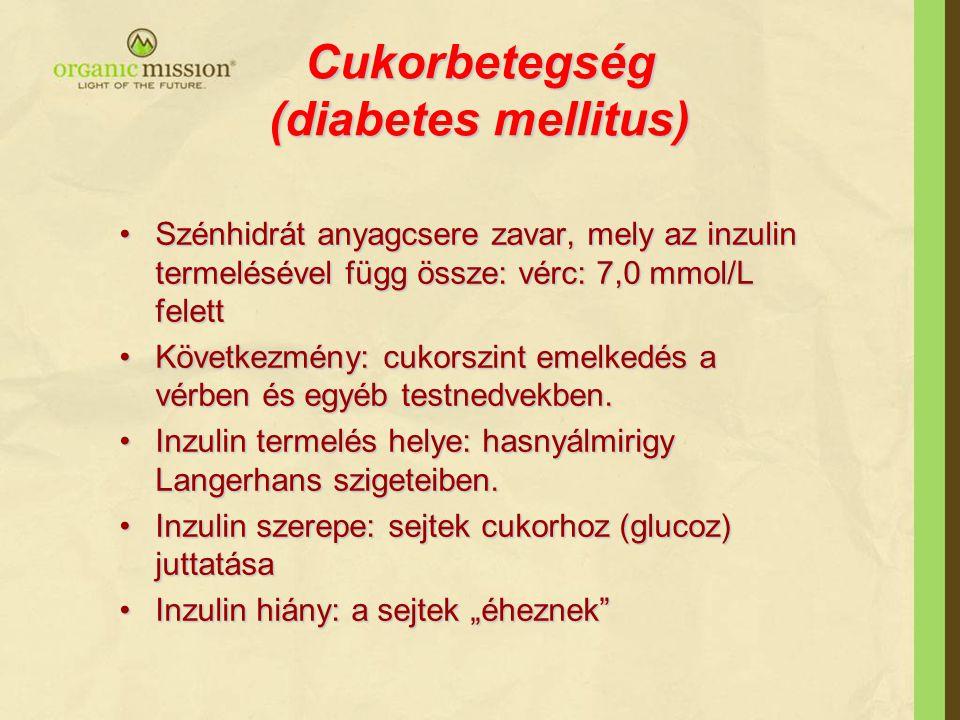 Cukorbetegség (diabetes mellitus) Szénhidrát anyagcsere zavar, mely az inzulin termelésével függ össze: vérc: 7,0 mmol/L felettSzénhidrát anyagcsere z