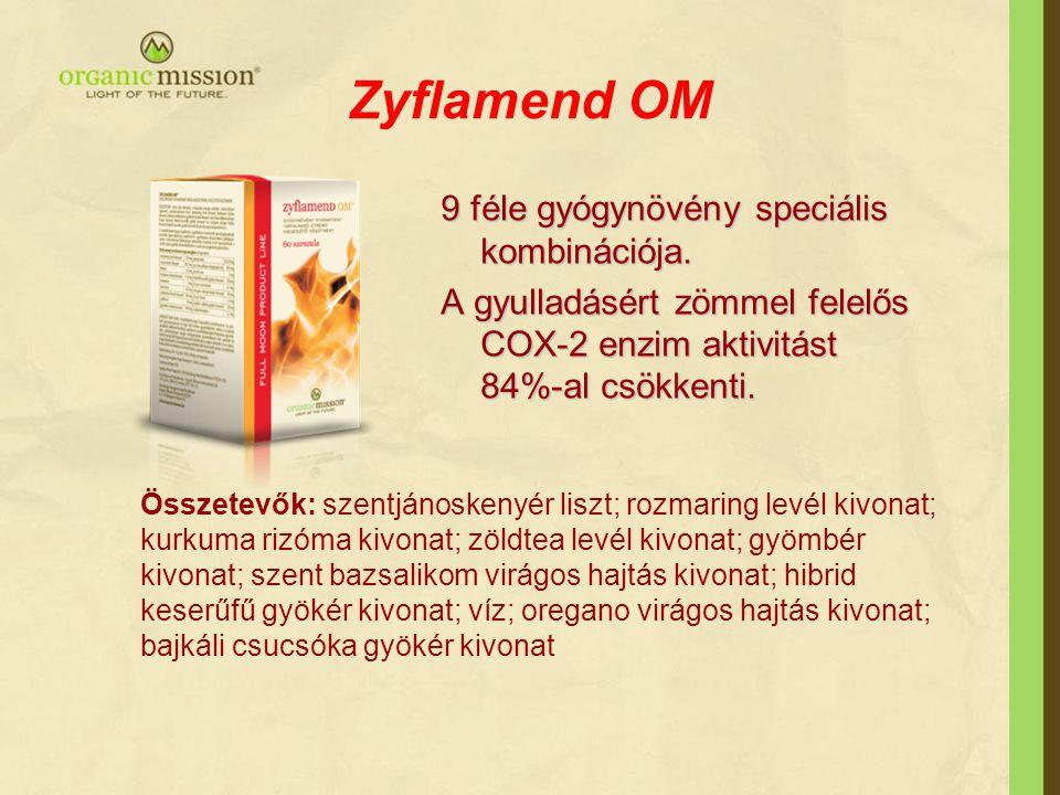 Zyflamend OM 9 féle gyógynövény speciális kombinációja. A gyulladásért zömmel felelős COX-2 enzim aktivitást 84%-al csökkenti. Összetevők: szentjánosk