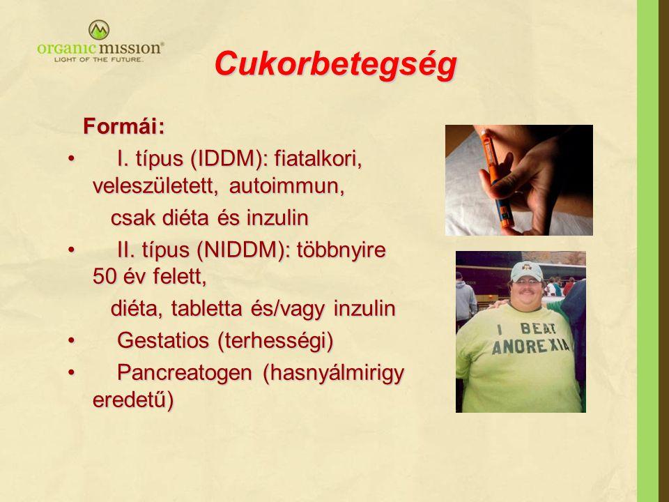 Cukorbetegség Formái: Formái: I. típus (IDDM): fiatalkori, veleszületett, autoimmun, I. típus (IDDM): fiatalkori, veleszületett, autoimmun, csak diéta