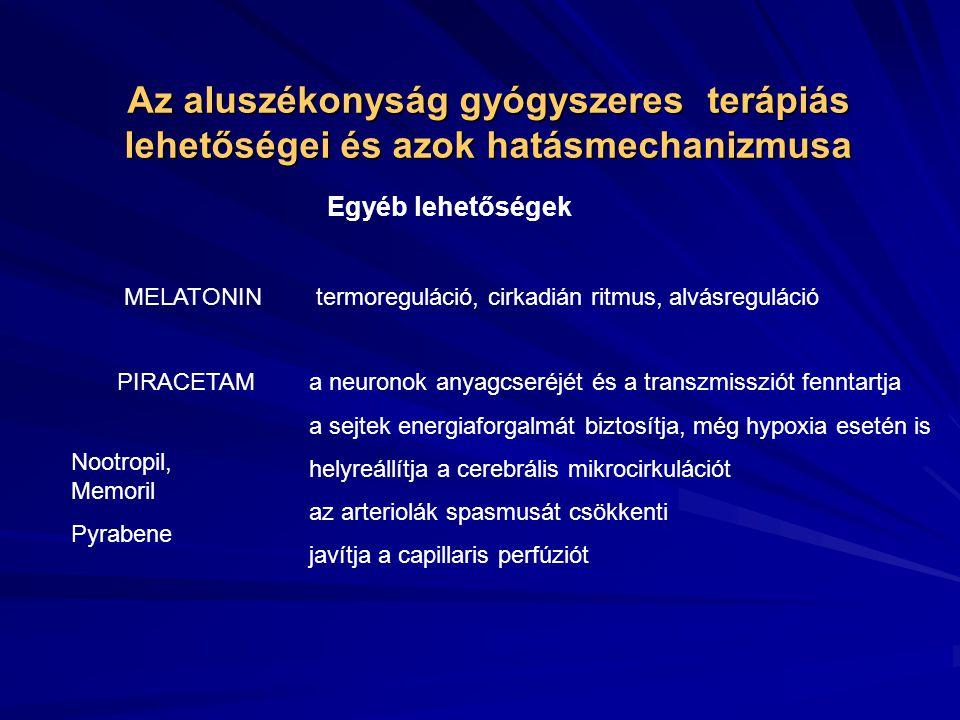 Az aluszékonyság gyógyszeres terápiás lehetőségei és azok hatásmechanizmusa Tüneti kezelés Gyógyszer:Modafinil – PROVIGIL Hatásmechanizmus: Stimuláló hatás, mely a GABA-erg mediált transzmissziót csökkenti, a szimpatiko-mimetikus anyagokhoz hasonlóan.