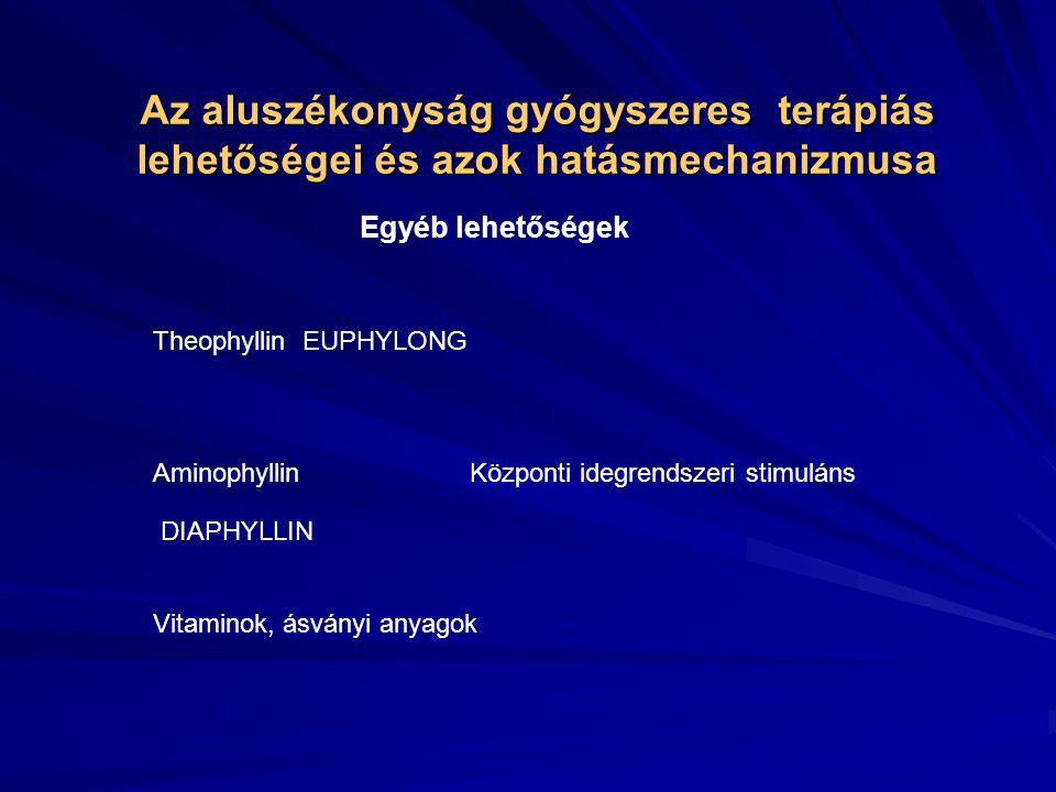 Az aluszékonyság gyógyszeres terápiás lehetőségei és azok hatásmechanizmusa Egyéb lehetőségek Vinpocetin serkenti az agyi metabolizmust fokozza az agyi oxigénfogyasztást növeli az agysejtek anoxia-tűrőképességét ATP,cAMP szintet emeli a mikrocirculációt javítja CAVINTON Pentoxyphillin vvt flexibilitást fokozza a vér viszkozitását csökkenti javítja a károsodott területek mikrocirkulációját TRENTAL CHINOTAL