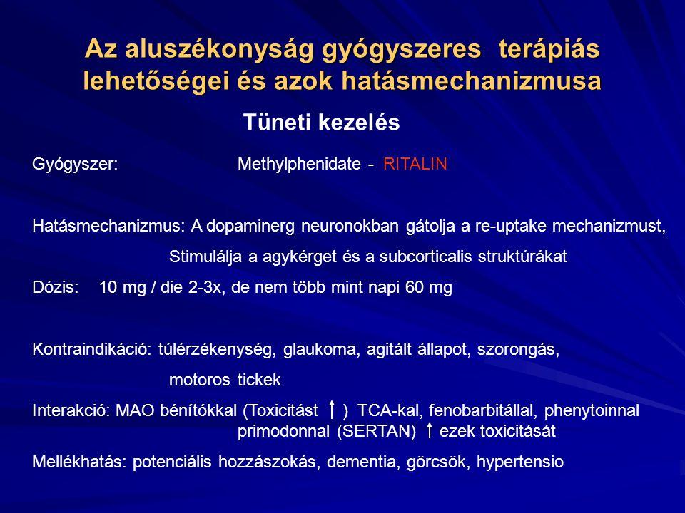 Az aluszékonyság gyógyszeres terápiás lehetőségei és azok hatásmechanizmusa Tüneti kezelés Gyógyszer:Methylphenidate - RITALIN Hatásmechanizmus: A dopaminerg neuronokban gátolja a re-uptake mechanizmust, Stimulálja a agykérget és a subcorticalis struktúrákat Dózis: 10 mg / die 2-3x, de nem több mint napi 60 mg Kontraindikáció: túlérzékenység, glaukoma, agitált állapot, szorongás, motoros tickek Interakció: MAO bénítókkal (Toxicitást ) TCA-kal, fenobarbitállal, phenytoinnal primodonnal (SERTAN) ezek toxicitását Mellékhatás: potenciális hozzászokás, dementia, görcsök, hypertensio