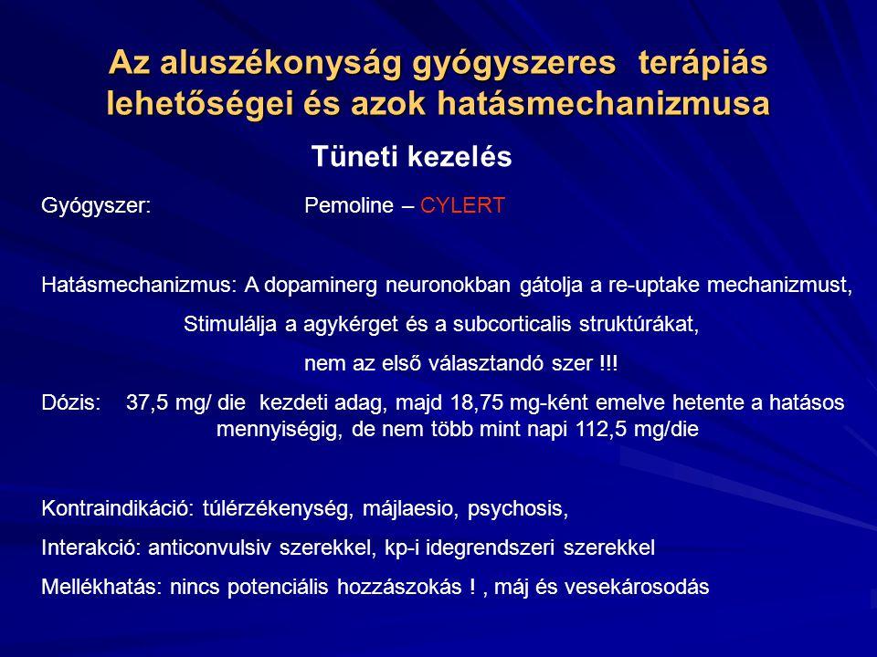 Az aluszékonyság gyógyszeres terápiás lehetőségei és azok hatásmechanizmusa Tüneti kezelés Gyógyszer:Pemoline – CYLERT Hatásmechanizmus: A dopaminerg neuronokban gátolja a re-uptake mechanizmust, Stimulálja a agykérget és a subcorticalis struktúrákat, nem az első választandó szer !!.