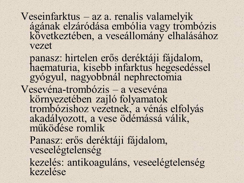 Veseinfarktus – az a. renalis valamelyik ágának elzáródása embólia vagy trombózis következtében, a veseállomány elhalásához vezet panasz: hirtelen erő