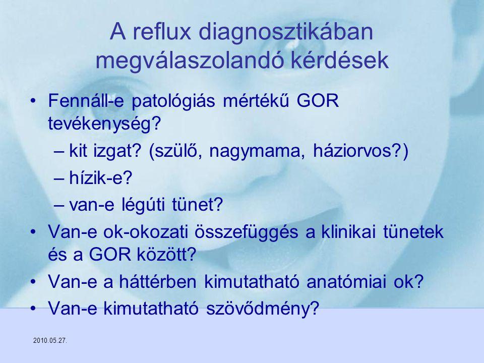 2010.05.27. A reflux diagnosztikában megválaszolandó kérdések Fennáll-e patológiás mértékű GOR tevékenység? –kit izgat? (szülő, nagymama, háziorvos?)