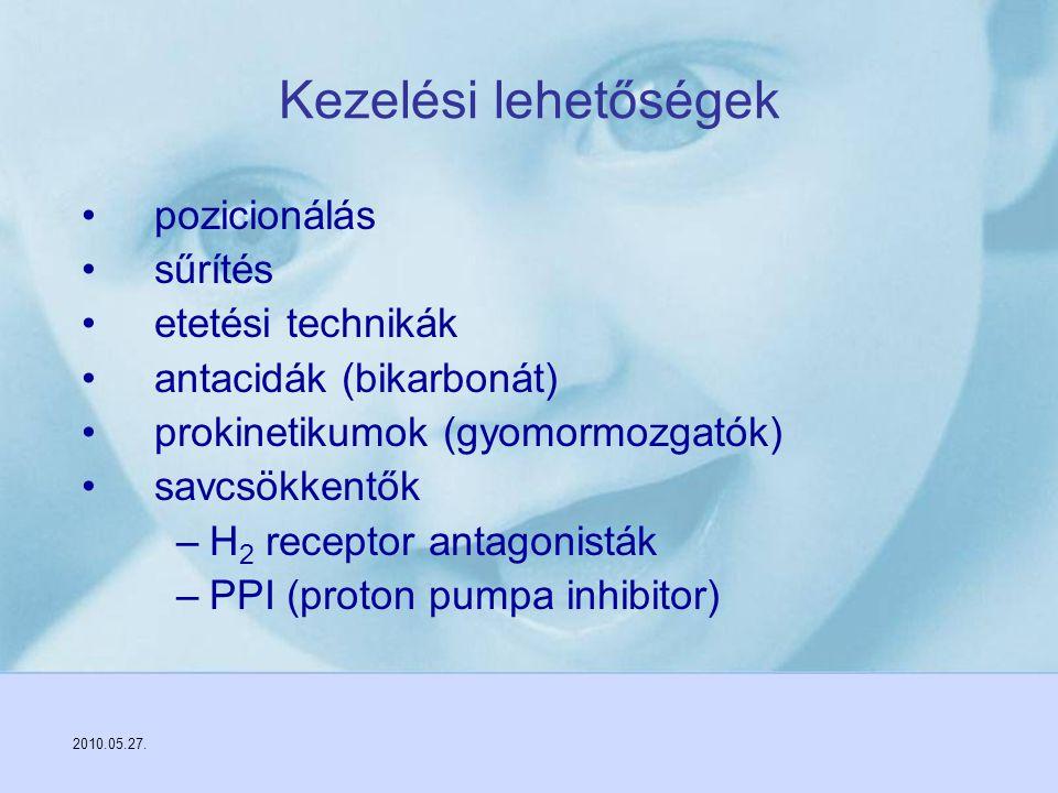 2010.05.27. Kezelési lehetőségek pozicionálás sűrítés etetési technikák antacidák (bikarbonát) prokinetikumok (gyomormozgatók) savcsökkentők –H 2 rece