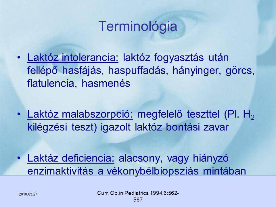 2010.05.27. Curr. Op.in Pediatrics 1994,6:562- 567 Terminológia Laktóz intolerancia: laktóz fogyasztás után fellépő hasfájás, haspuffadás, hányinger,