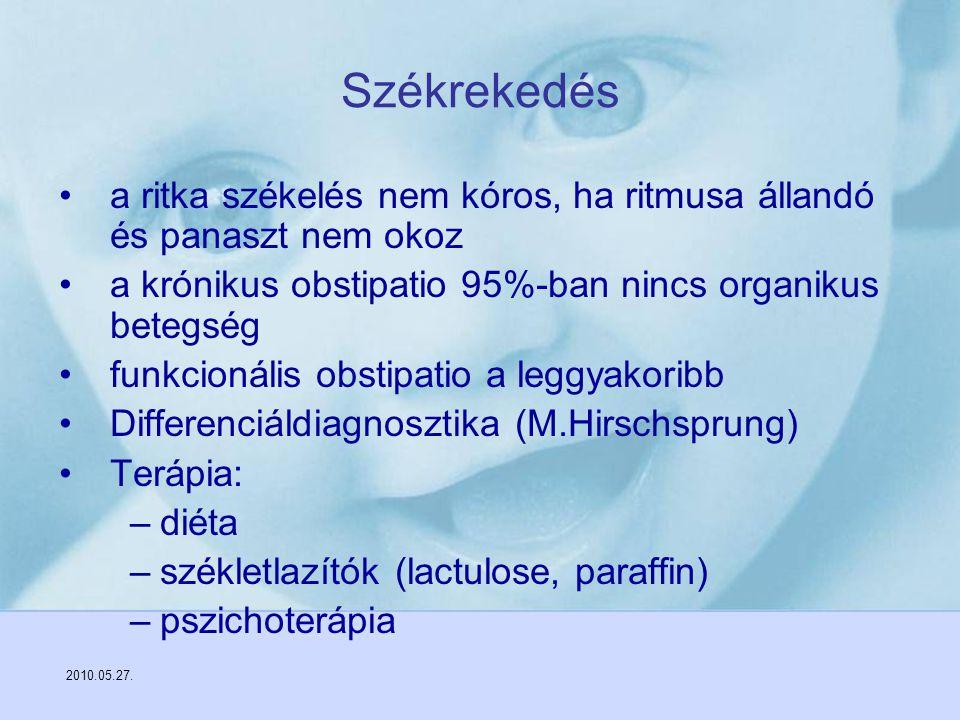2010.05.27. Székrekedés a ritka székelés nem kóros, ha ritmusa állandó és panaszt nem okoz a krónikus obstipatio 95%-ban nincs organikus betegség funk