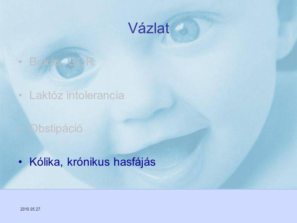 2010.05.27. Vázlat Bukás, GOR Laktóz intolerancia Obstipáció Kólika, krónikus hasfájás
