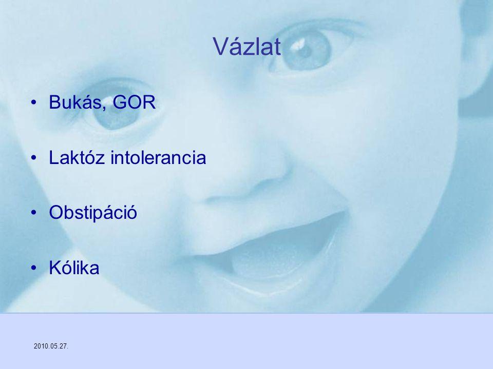 2010.05.27. Vázlat Bukás, GOR Laktóz intolerancia Obstipáció Kólika