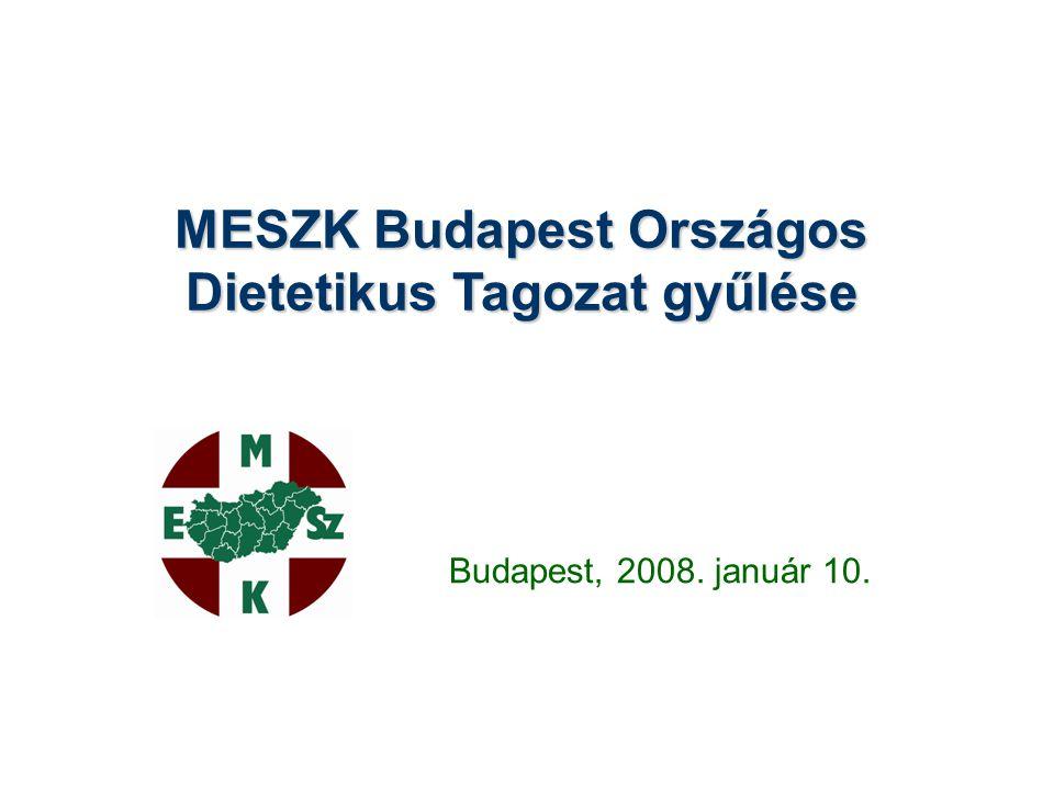 MESZK Budapest Országos Dietetikus Tagozat gyűlése Budapest, 2008. január 10.