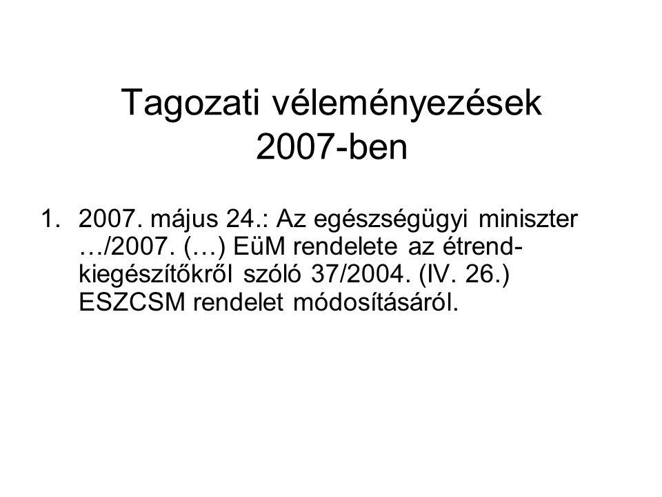 Tagozati véleményezések 2007-ben 1.2007. május 24.: Az egészségügyi miniszter …/2007. (…) EüM rendelete az étrend- kiegészítőkről szóló 37/2004. (IV.