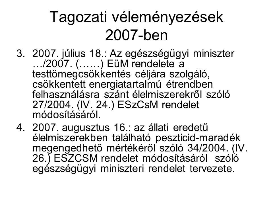 Tagozati véleményezések 2007-ben 3.2007. július 18.: Az egészségügyi miniszter …/2007. (……) EüM rendelete a testtömegcsökkentés céljára szolgáló, csök