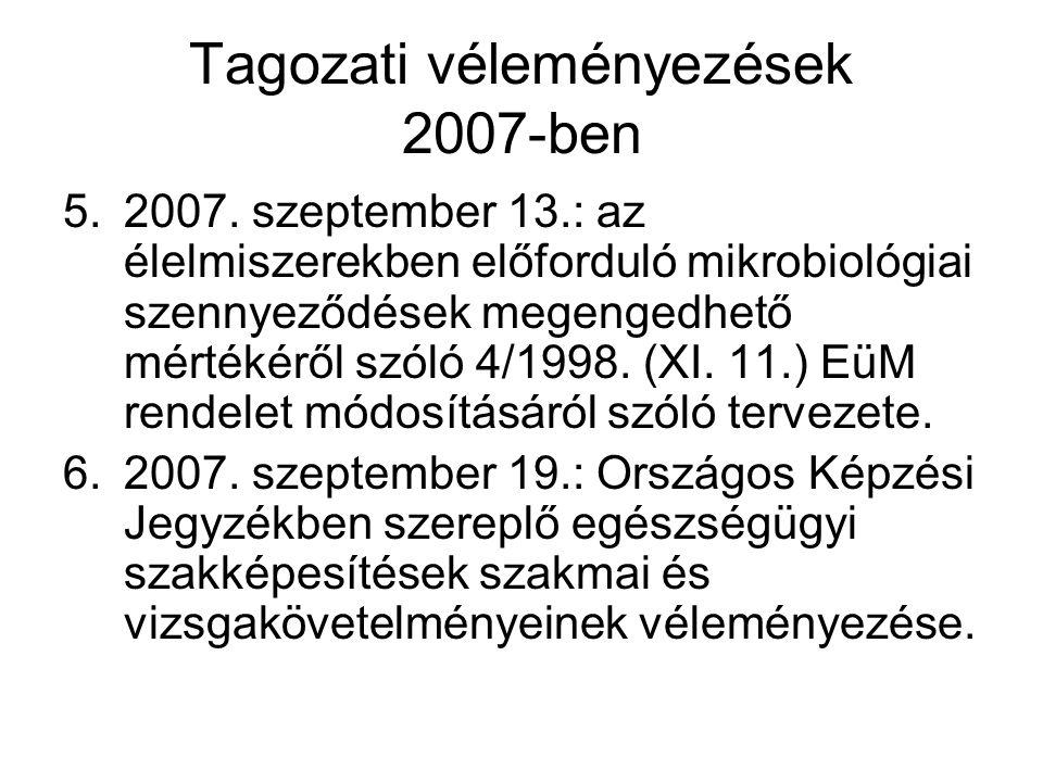 Tagozati véleményezések 2007-ben 5.2007. szeptember 13.: az élelmiszerekben előforduló mikrobiológiai szennyeződések megengedhető mértékéről szóló 4/1