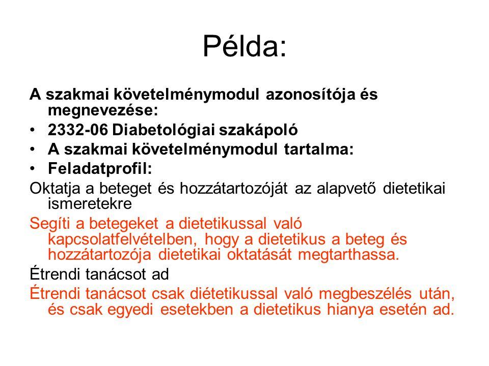 Példa: A szakmai követelménymodul azonosítója és megnevezése: 2332-06 Diabetológiai szakápoló A szakmai követelménymodul tartalma: Feladatprofil: Okta