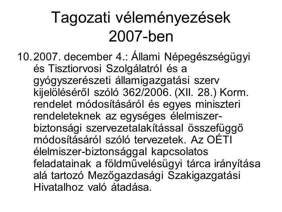 Tagozati véleményezések 2007-ben 10.2007. december 4.: Állami Népegészségügyi és Tisztiorvosi Szolgálatról és a gyógyszerészeti államigazgatási szerv
